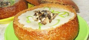 Чешский грибной суп в хлебе