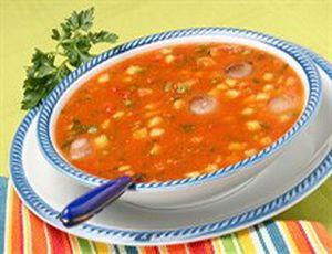 суп с консервированной фасолью в томатном соусе без мяса