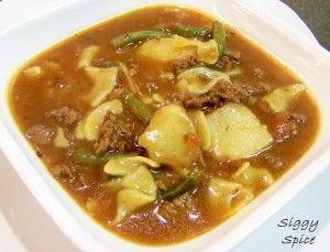 Картофельный суп с говядиной и стручковой фасолью