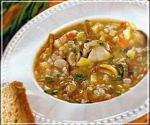 Картофельный постный суп с перловкой