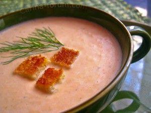 суп крем из лосося