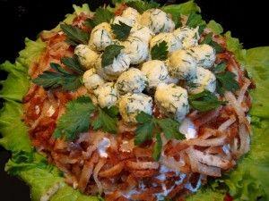 как приготовить китайский салат гнездо глухаря