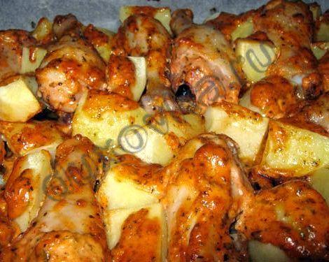 Голень куриная в духовке с картошкой рецепт с фото оставить промариноваться на полчаса или