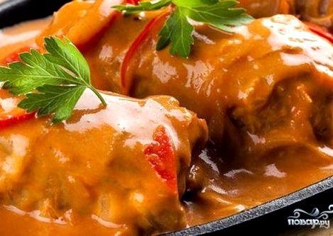 Голубцы рецепт пошагово с фото в мультиварке Готовьте пикантный томатно-сметанный соус