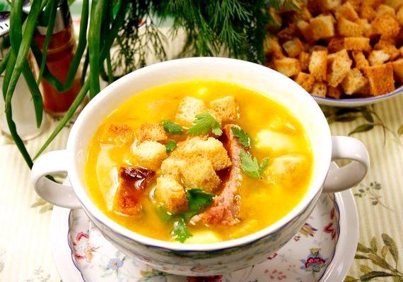 Гороховый суп с копченостями ребрышками рецепт