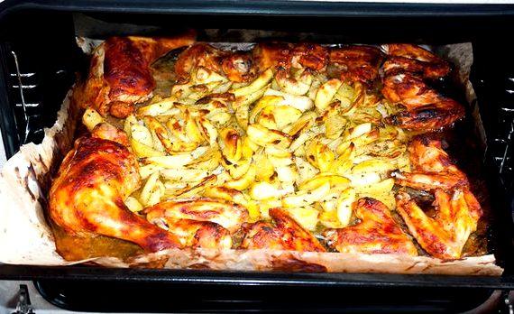 Крылышки с картошкой в духовке на протвине рецепт с фото
