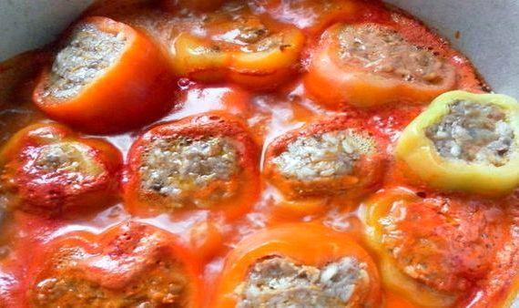 Перцы фаршированные мясом и рисом рецепт с фото пошагово в кастрюле