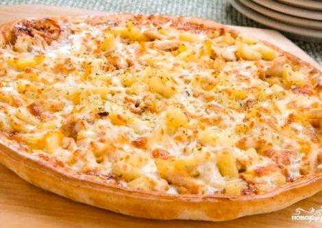 Пицца гавайская рецепт с курицей и ананасами идеально сочетаются