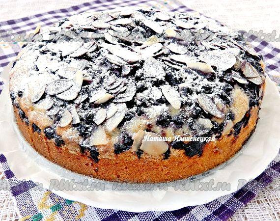Пирог с замороженной черникой рецепт с фото пошагово в духовке