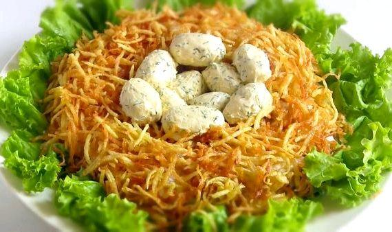 Рецепт салат гнездо глухаря классический