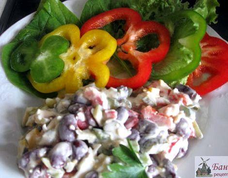 Рецепт салата с красной фасолью консервированной зелень, которую