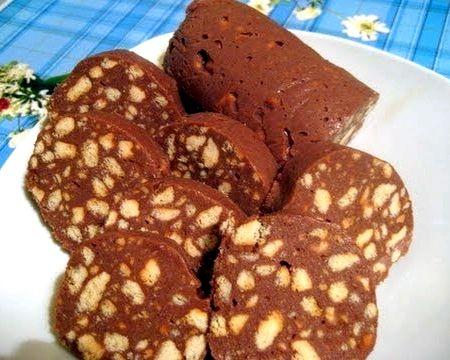 Рецепт сладкой колбаски из печенья и какао не доводить до кипения