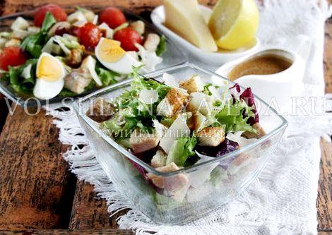 Салат цезарь с семгой классический простой рецепт Именно семга предаст салату Цезарь