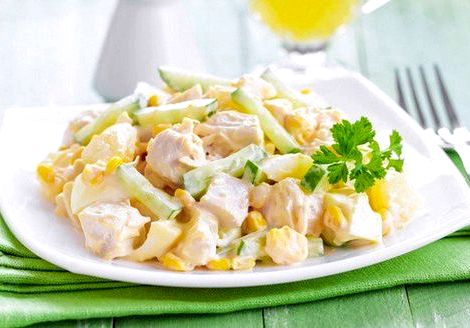 Салат курица с ананасами рецепт с фото классический складываем сверху на курицу