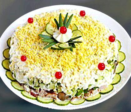 Салат с копченым окорочком фото пошаговый рецепт После этого нужно