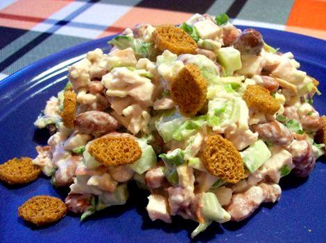 Салат с сухариками и фасолью рецепт с фото добавлять следует