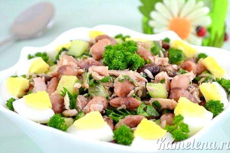 Салат с тунцом и фасолью рецепт это могут быль листья