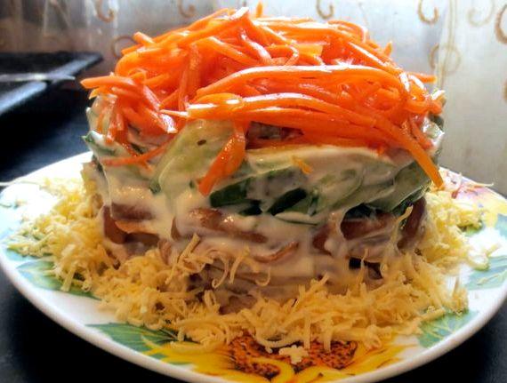 Салат восторг с корейской морковью рецепт с фото