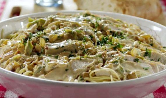 Спагетти с курицей в сливочном соусе рецепт