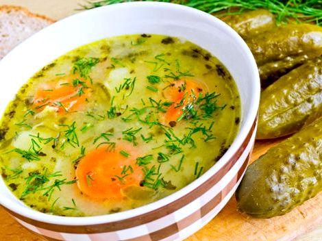 Суп с перловкой и солеными огурцами рецепт горячей водой