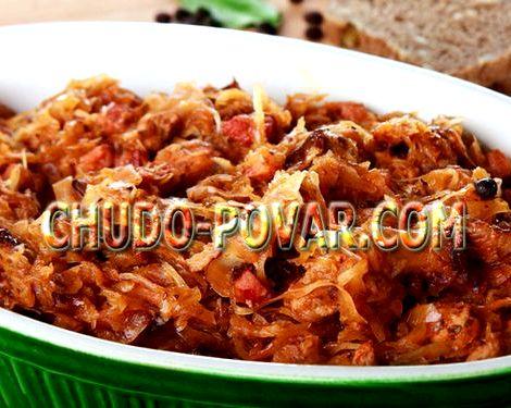 Тушеная капуста рецепт на сковороде с фото придаст густоту