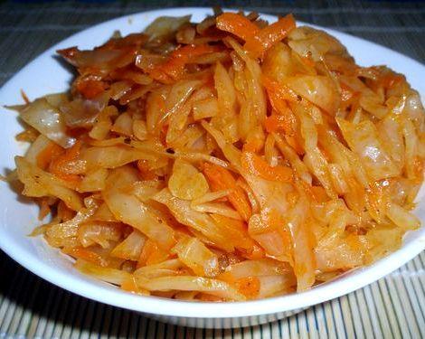 Тушеная капуста рецепт на сковороде с фото соус или паста томатная  Пошаговый