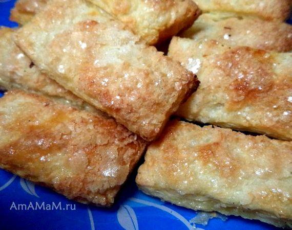слоёные язычки с сахаром рецепт с фото пошагово