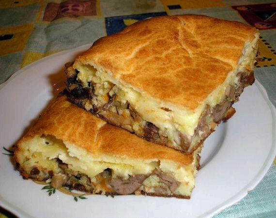 Заливной пирог на кефире с фаршем рецепт с фото в духовке