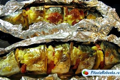 Запечь рыбу в духовке в фольге рецепт или горку овощей, сверху кладем